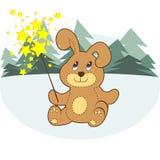 Rabbit. Vector Cartoon Bunny With A Sparkler Royalty Free Stock Photo