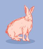 Rabbit vector fake retro tattoo style Stock Photo
