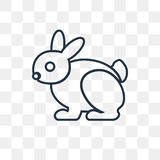 Rabbit vector icon isolated on transparent background, linear Ra royalty free illustration
