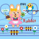 Rabbit. Vector illustration for children clothes for wallpaper picture Stock Photography