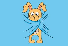 Rabbit. Vector little rabbit is heated under a blanket Royalty Free Stock Photography