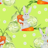 Rabbit with vegetables seamless pattern Stock Images
