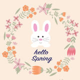 The rabbit with vintage flower wreath and hello spring word Royalty Free Stock Photo
