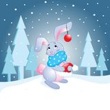 Rabbit waiting for Santa Claus vector illustration