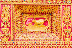Rabbit Wall sculpture in Thai temple Royalty Free Stock Photos