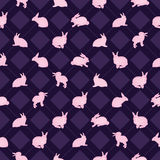 Rabbit watercolor diamond symmetry seamless pattern. This illustration is drawing watercolor rabbit with pink color and design symmetry diamond shape in seamless Stock Image