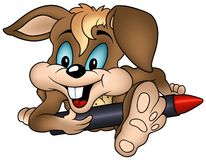 Rabbit and Wax Crayon. Colored cartoon illustration, vector Royalty Free Stock Images
