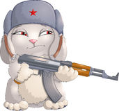 Rabbit and weapon Stock Image