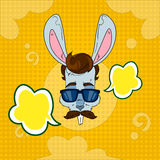 Rabbit Wear Glasses Mustache With Chat Dialog Bubble Pop Art Colorful Retro Style Royalty Free Stock Photos