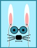 Rabbit wearing glasses and earphones Stock Photography