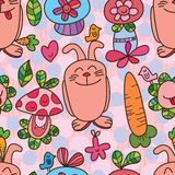 Rabbit wild plant seamless pattern Stock Photos