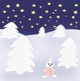 Rabbit in Winter Landscape Royalty Free Stock Images