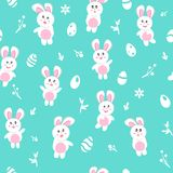 Rabbit in winter, seamless pattern, Happy easter egg, background texture cute baby cartoon seasonal holiday, vector illustration vector illustration