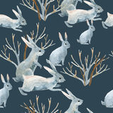Rabbit in winter. Watercolor seamless pattern Stock Photography