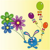 Rabbit wishes you a Happy Birthday. Rabbit with flowers and balloons, congratulations on his birthday Stock Image