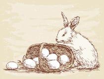 Rabbit With Basket Royalty Free Stock Image