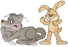 Rabbit and wolf. Isolated clip-art and children's illustration for yours design, postcard, album, cover, scrapbook, etc Stock Photography