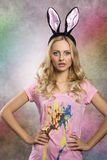 Rabbit Woman Stock Images