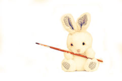 Rabbith with brush Royalty Free Stock Images