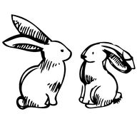 Rabbits. The black-and-white image of a fluffy rabbit Royalty Free Illustration