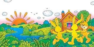 Rabbits. Children's illustration for yours design, postcard, album, cover, scrapbook, etc Stock Photo