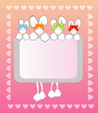 Rabbits. Four cute little rabbits, Vector illustration postcard with space for your text Stock Photos