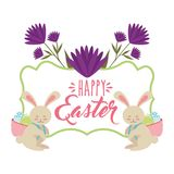 Rabbits with basket in back with eggs happy easter card vector illustration