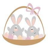 Rabbits in Basket Stock Photo