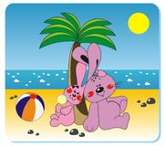 Rabbits on the beach. Vector illustration of rabbits with the ball on the beach Royalty Free Stock Photography