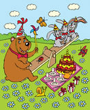 Rabbits and bear on the swing. Bear birthday. Stock Images