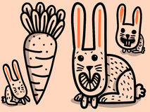Rabbits and big carrot Royalty Free Stock Images
