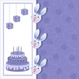 Rabbits in Birthday Card Stock Images