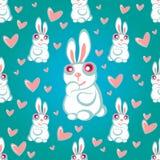 Rabbits blue seamless pattern Royalty Free Stock Image