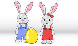 Rabbits boy and girl Royalty Free Stock Images