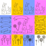 Rabbits and bunnies. Rabbit candy ribbons and flower design freehand drawing Royalty Free Stock Photos