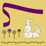 Rabbits with candy. Card with rabbit and ledintsami and graphic style Stock Photo