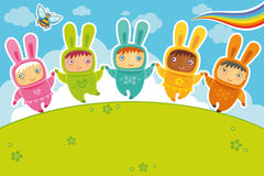 Rabbits card. Vector card with cute babies dressed as Bunnies. Rabbit, a symbol of 2011, according to the Chinese calendar Royalty Free Stock Photography
