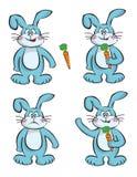 Rabbits and carrots. Illustrated cartoon Stock Photo