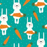 Rabbits with carrots, colorful seamless pattern royalty free illustration