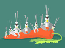 Rabbits and carrots. Many Happy hares sit on large carrots. Vect Stock Photo