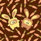 Rabbits and carrots seamless pattern Stock Photography