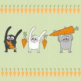 Rabbits with carrots Stock Photo