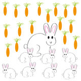 Rabbits with carrots on white background. Vector illustration Stock Photography