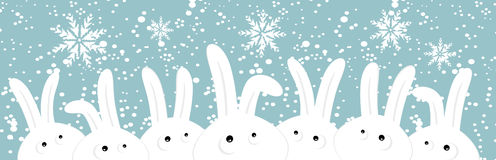 Rabbits on christmas winter background Royalty Free Stock Images