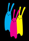 Rabbits CMYK Stock Photography