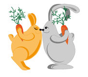 Rabbits congratulate each other on the holiday Royalty Free Stock Photos