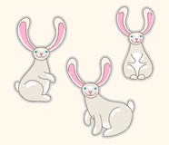 Rabbits. Cute bunny animalistic cartoon characters Stock Image