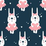 Rabbits in dresses, hearts, colorful seamless pattern royalty free illustration