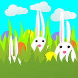 Rabbits. Easter card with rabbits and eggs in green grass. Vector illustration Royalty Free Stock Photos
