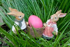 Rabbits and Easter eggs Royalty Free Stock Photography